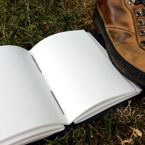 Open book in outdoors on grass beside walking book showing white pages with two inside stitches