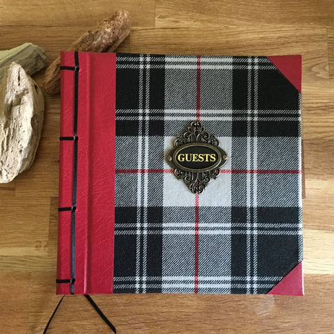 Bespoke Tartan and Leather Vintage Guest Book, 21cm