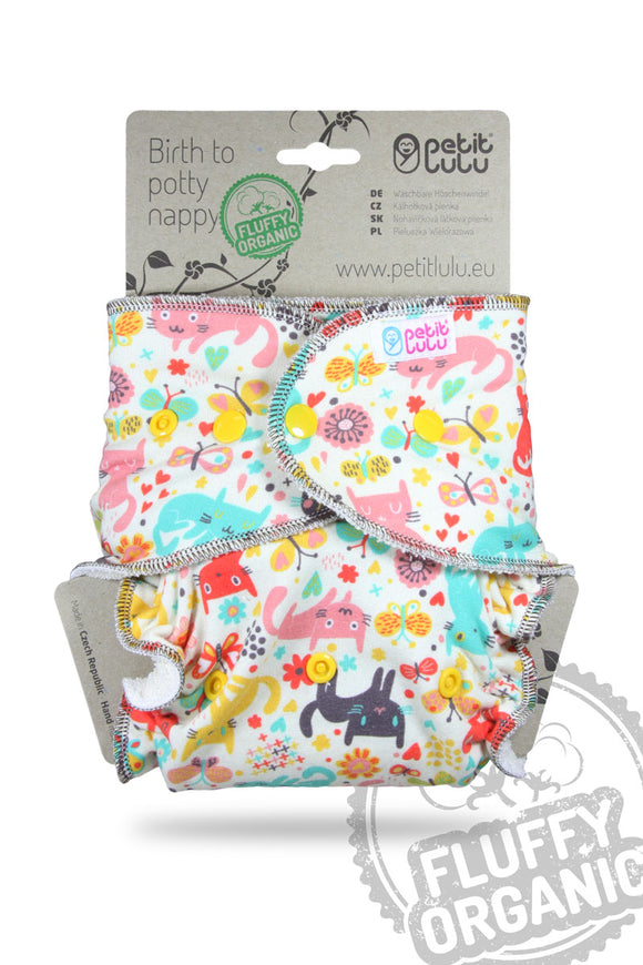 Petit LuLu Fitted Night Nappy Cat Meadow