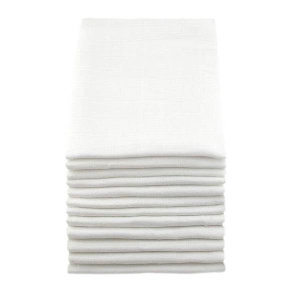 MuslinZ 12 pack Muslin Squares 70x70cm – White