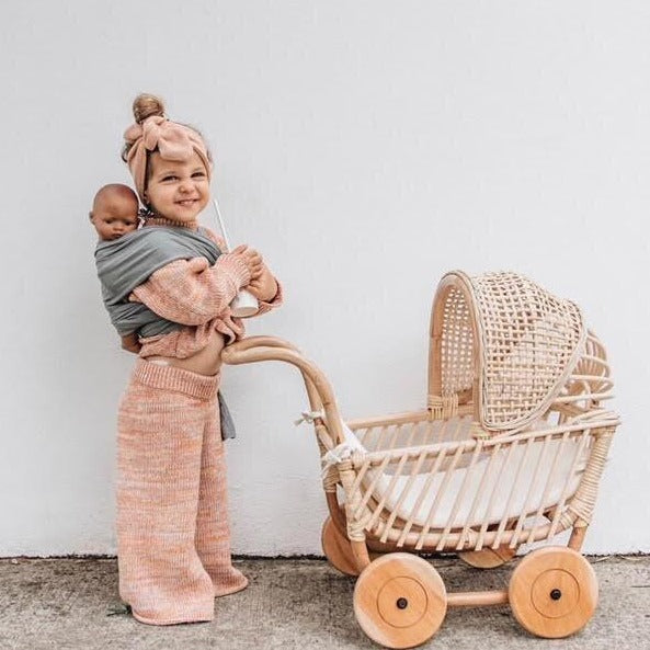 Rattan Doll Pram - Connie - Dimple and Dot