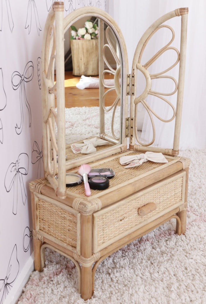 'Aurora' Rattan Children's Vanity - Dimple and Dot