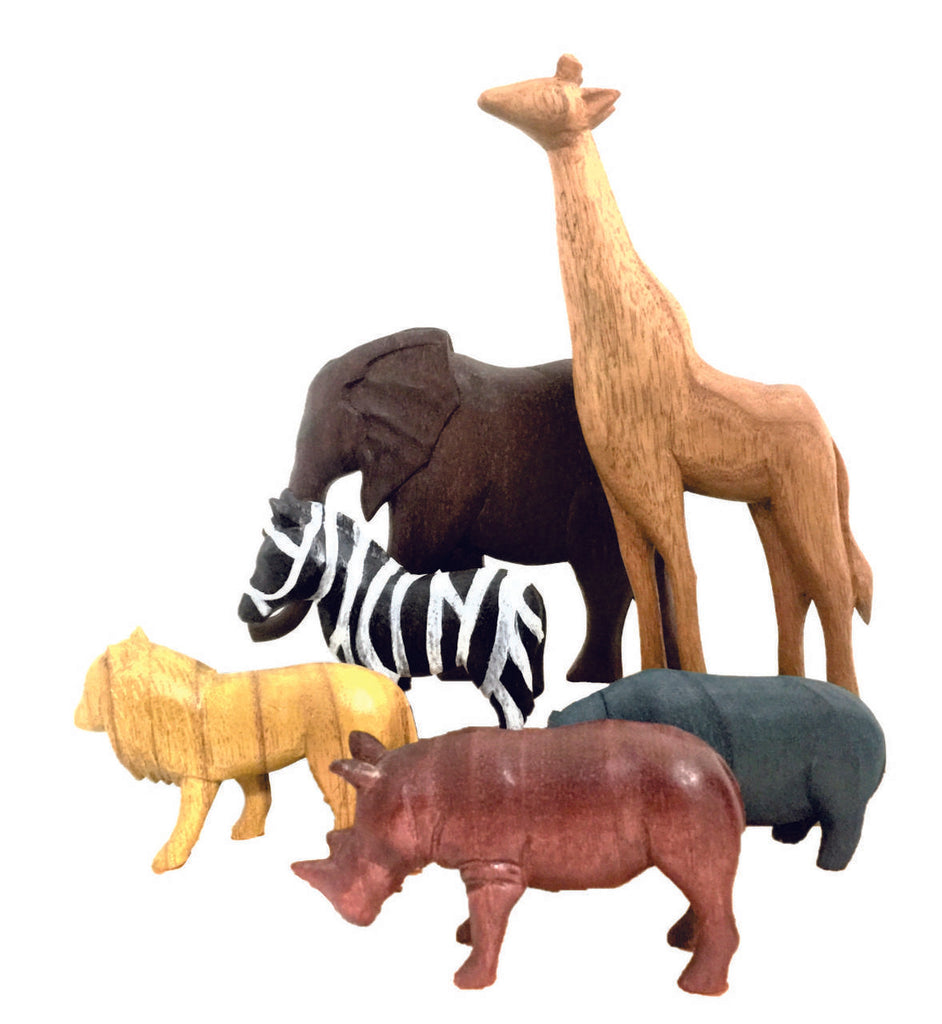 Africa Wood Animals - 6 piece set - Dimple and Dot