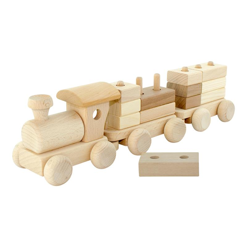Wooden Train With Stacking Blocks - Dimple and Dot