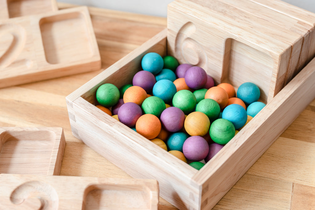 Coloured Wooden Balls Set of 50 - Dimple and Dot