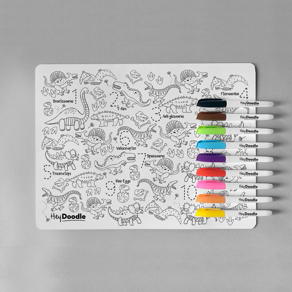 HeyDoodle Silicone Reusable Drawing Mat & Markers - DinoRoar - Dimple and Dot