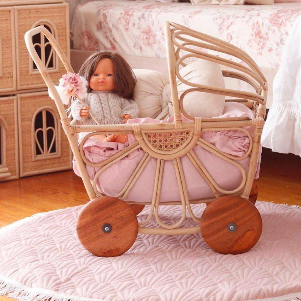'Primrose' Rattan Doll Pram - Dimple and Dot