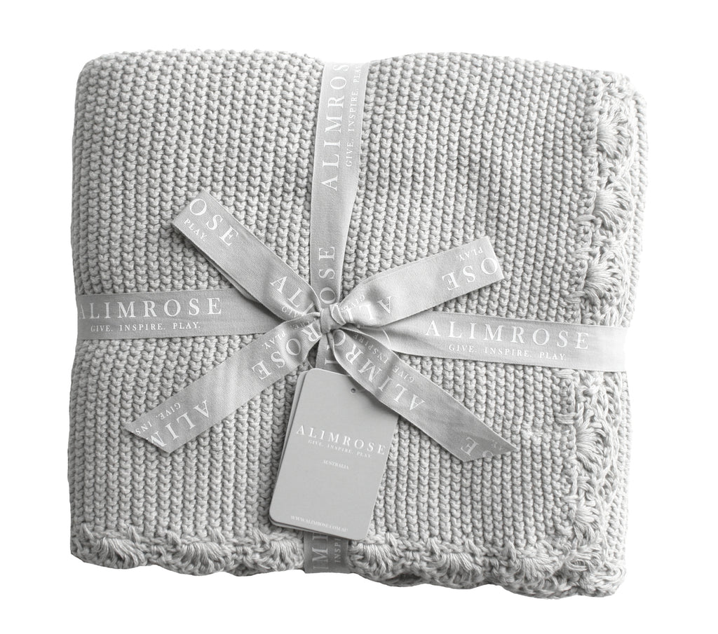 Knit Mini Moss Stitch Blanket - Grey - Dimple and Dot