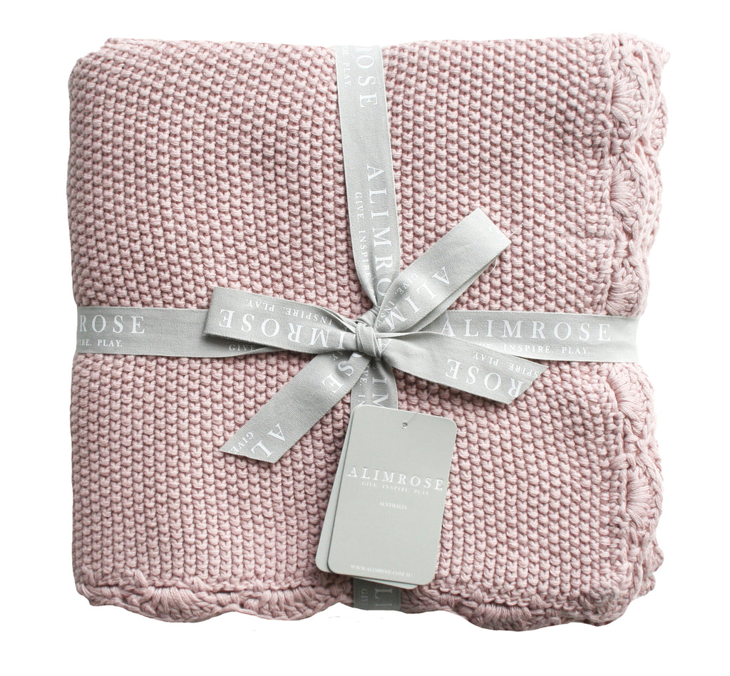 Knit Mini Moss Stitch Blanket - Pink - Dimple and Dot