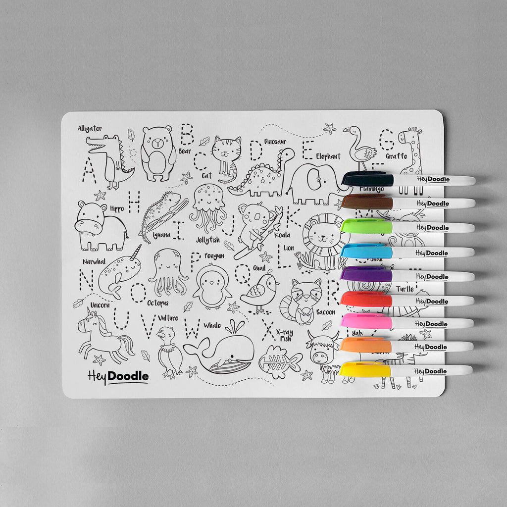 HeyDoodle Silicone Reusable Drawing Mat & Markers - Into the Wild - Dimple and Dot