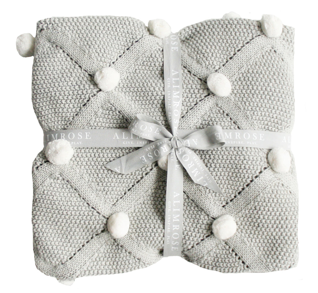 Organic Pom Pom Baby Blanket - Grey - Dimple and Dot