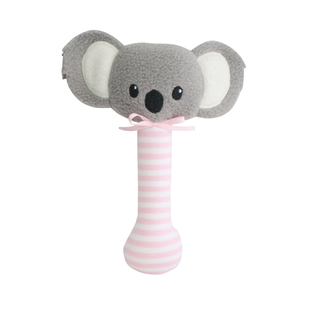 Koala Stick Rattle - Pink - Dimple and Dot