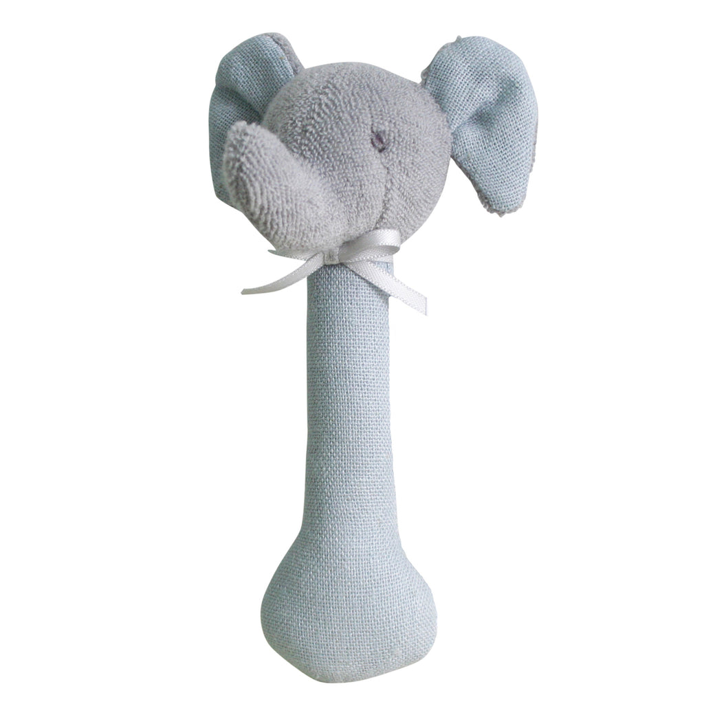 Elephant Stick Rattle - Linen Grey - Dimple and Dot