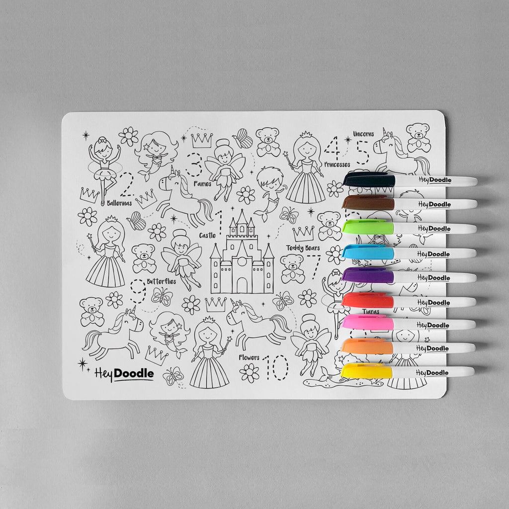 HeyDoodle Silicone Reusable Drawing Mat & Markers - Sugar & Spice - Dimple and Dot