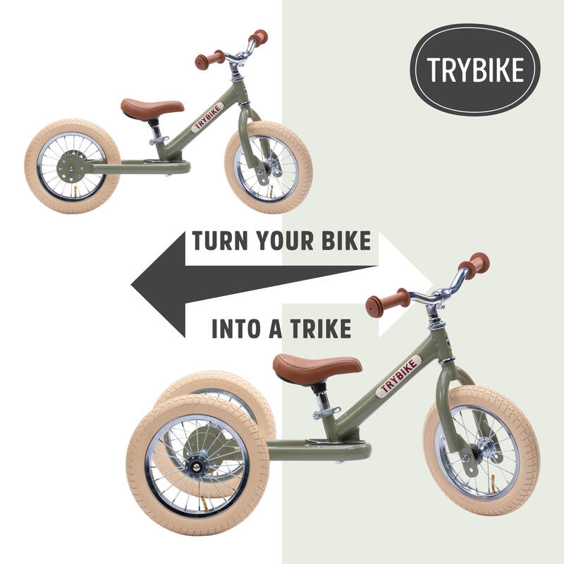 Trybike - Green Vintage, Cream Tyres and Chrome (3 wheel) - Dimple and Dot