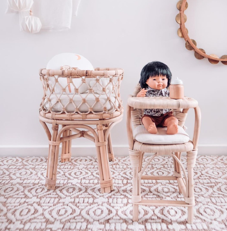 Rattan Dolls Highchair - Dimple and Dot