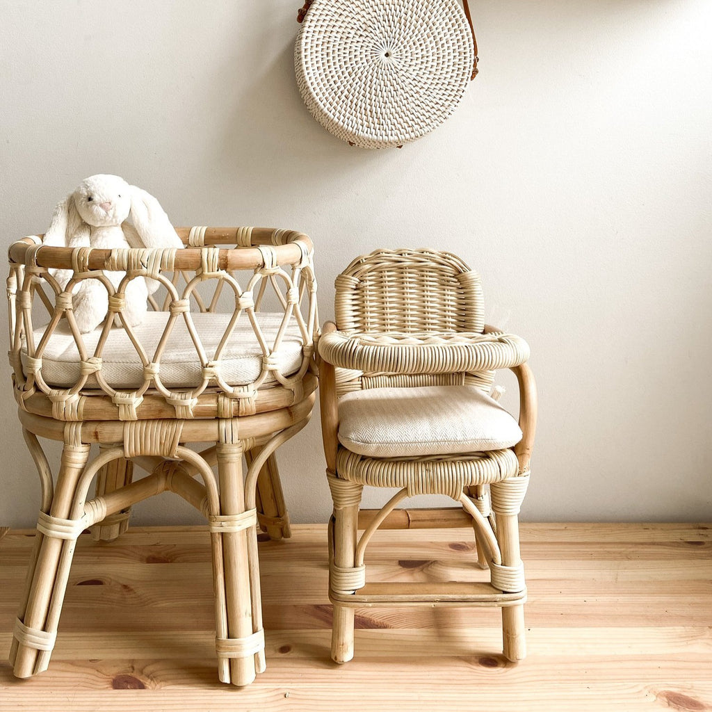 Rattan Mini Highchair & Bassinet Set - Dimple and Dot