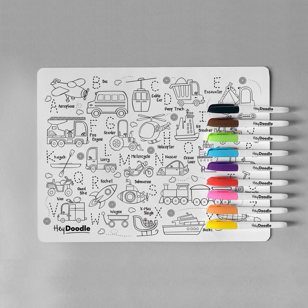 HeyDoodle Silicone Reusable Drawing Mat & Markers - Toot Toot Honk! - Dimple and Dot