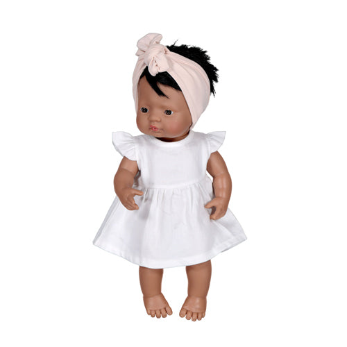 White Flutter Dress for 38cm Doll - Dimple and Dot