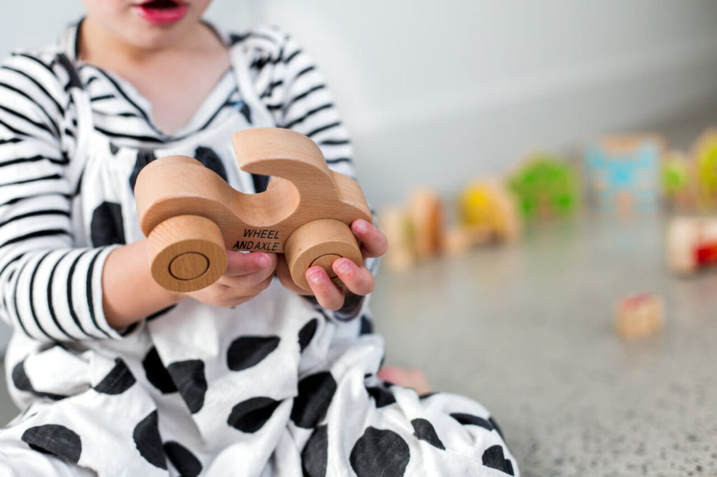 Wooden toy car with handle - Dimple and Dot