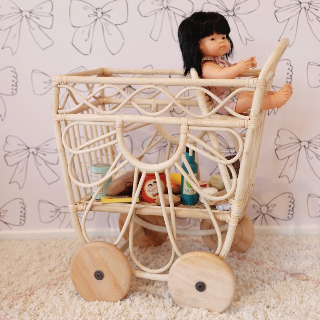 'Petal Pusher' Rattan Market Shopping Trolley Cart - Dimple and Dot