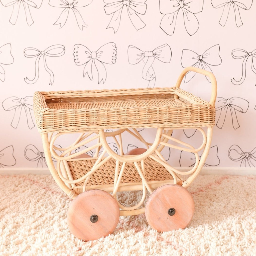'Tallulah' Rattan Tea Cart - Dimple and Dot
