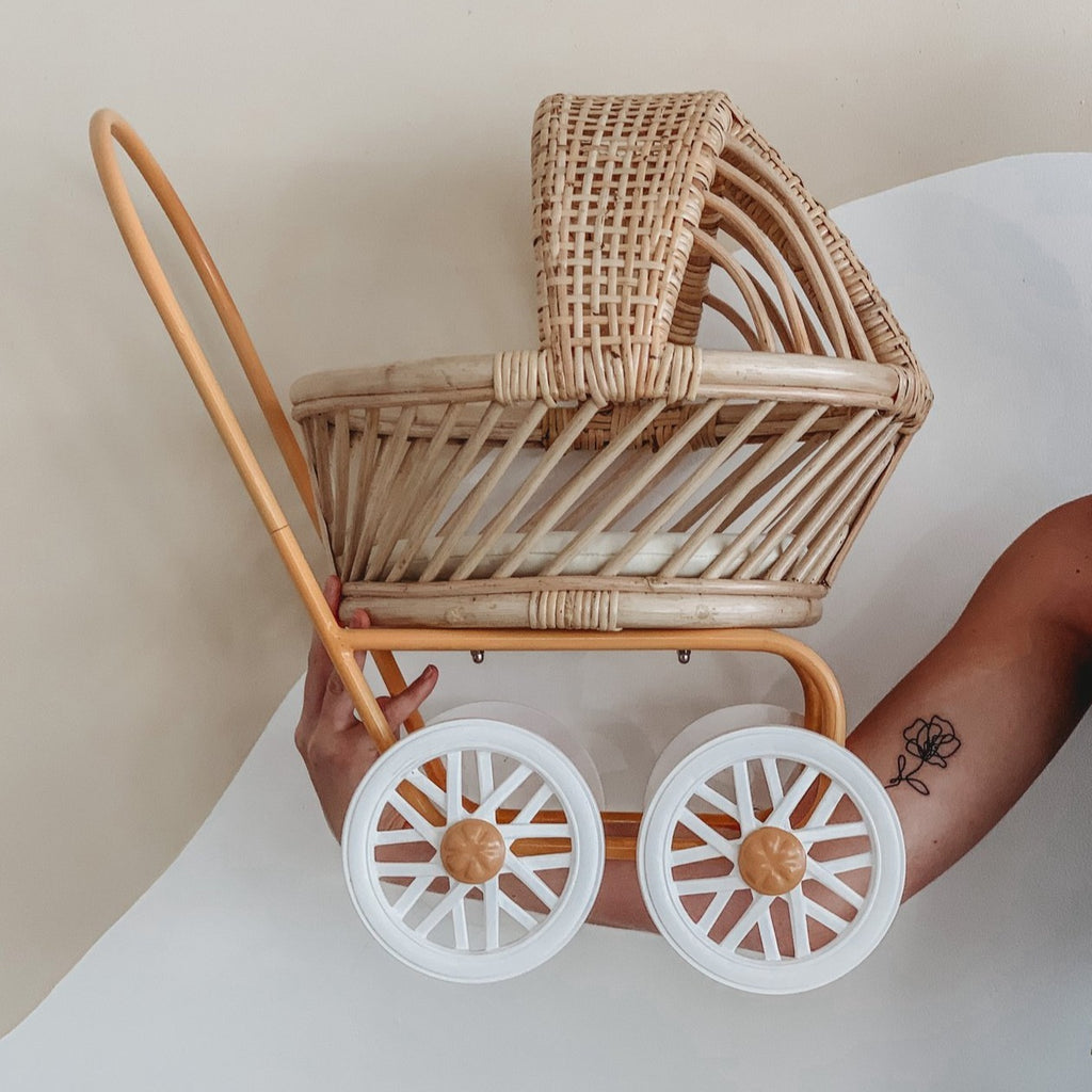 Rattan Dolls Pram - Gigi (Mustard) - Dimple and Dot