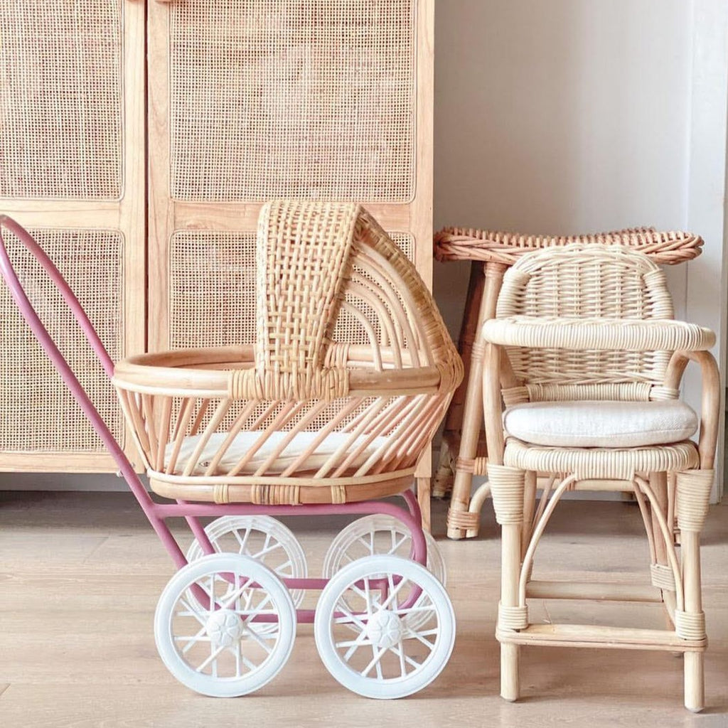 Rattan Dolls Pram - Gigi (Mulberry Rose) - Dimple and Dot