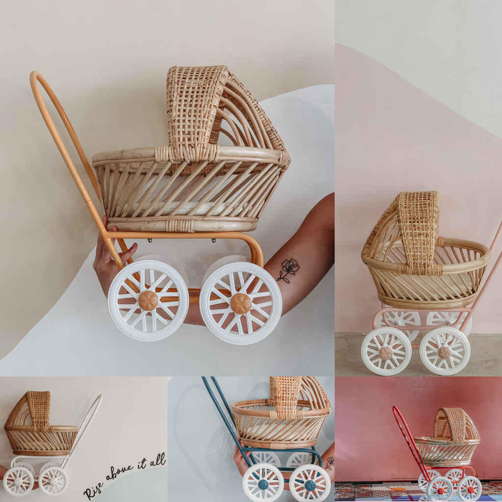 Rattan Dolls Pram - Gigi (Dusty Pink) - Dimple and Dot