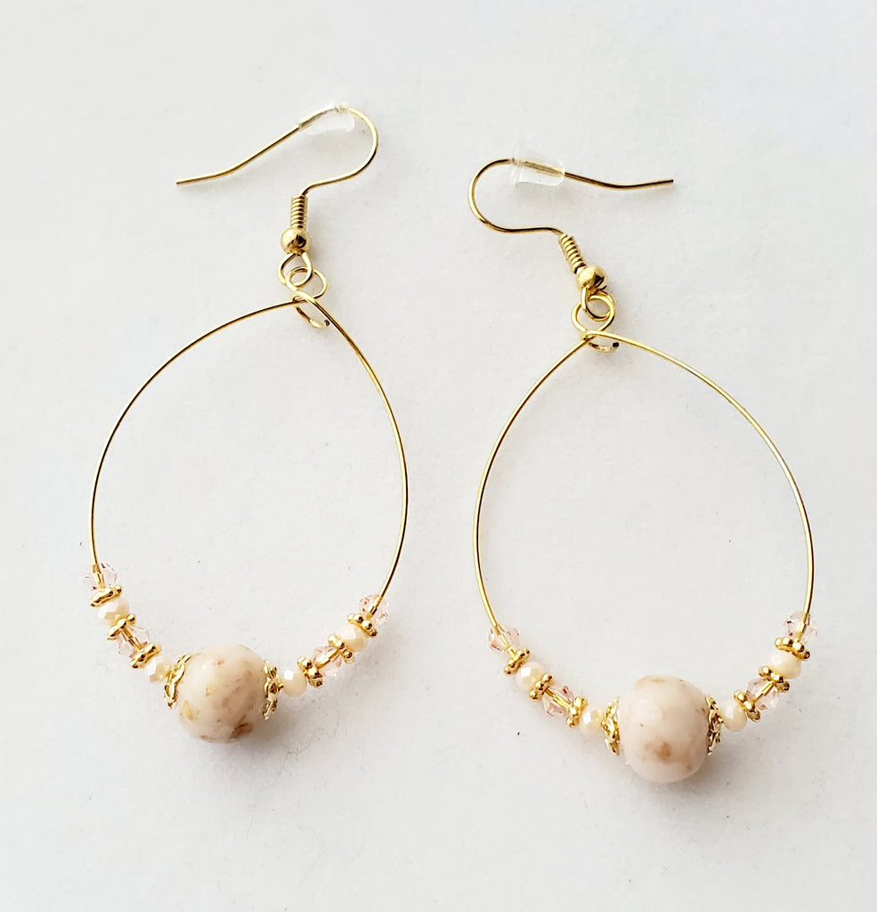 Marie Rose Bead Teardrop Hoop Earrings