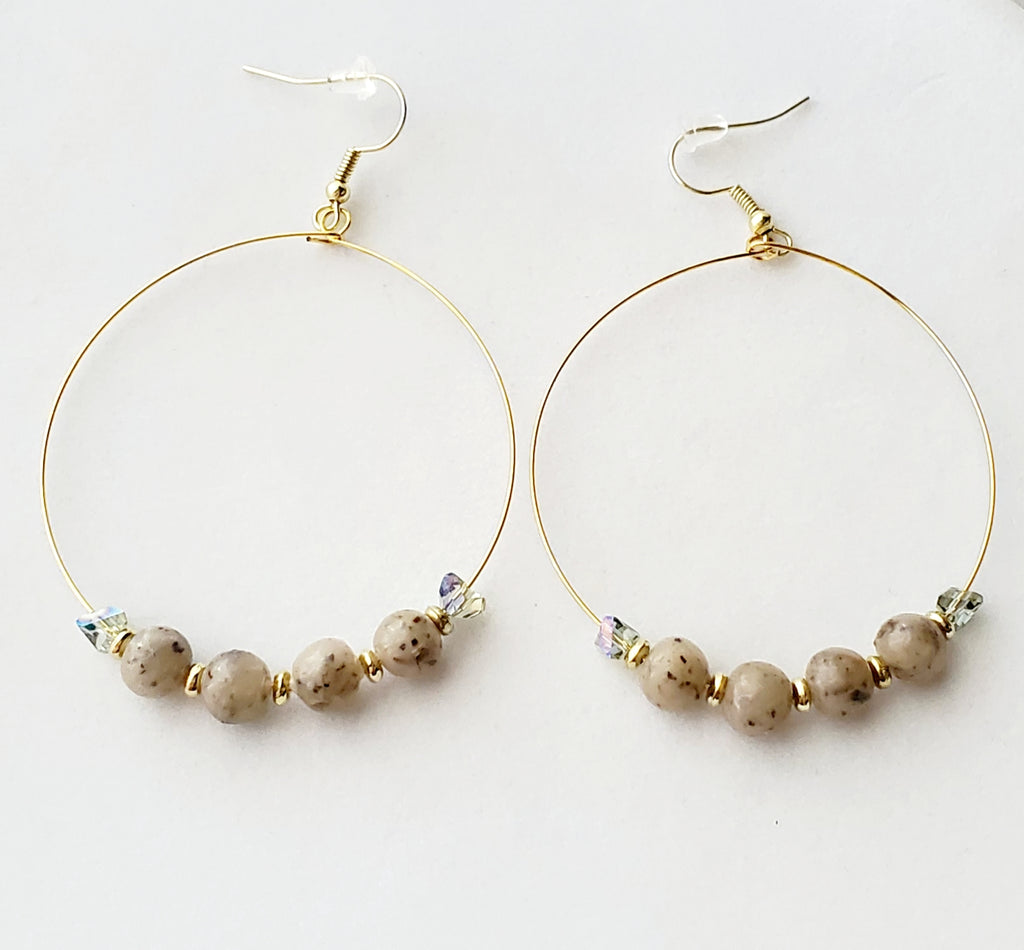 Renee Lavender Bead Hoop Earrings