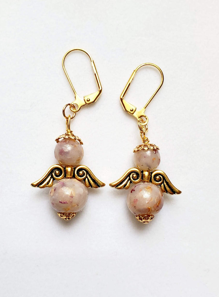 Guardian Angel Rose Bead Earrings