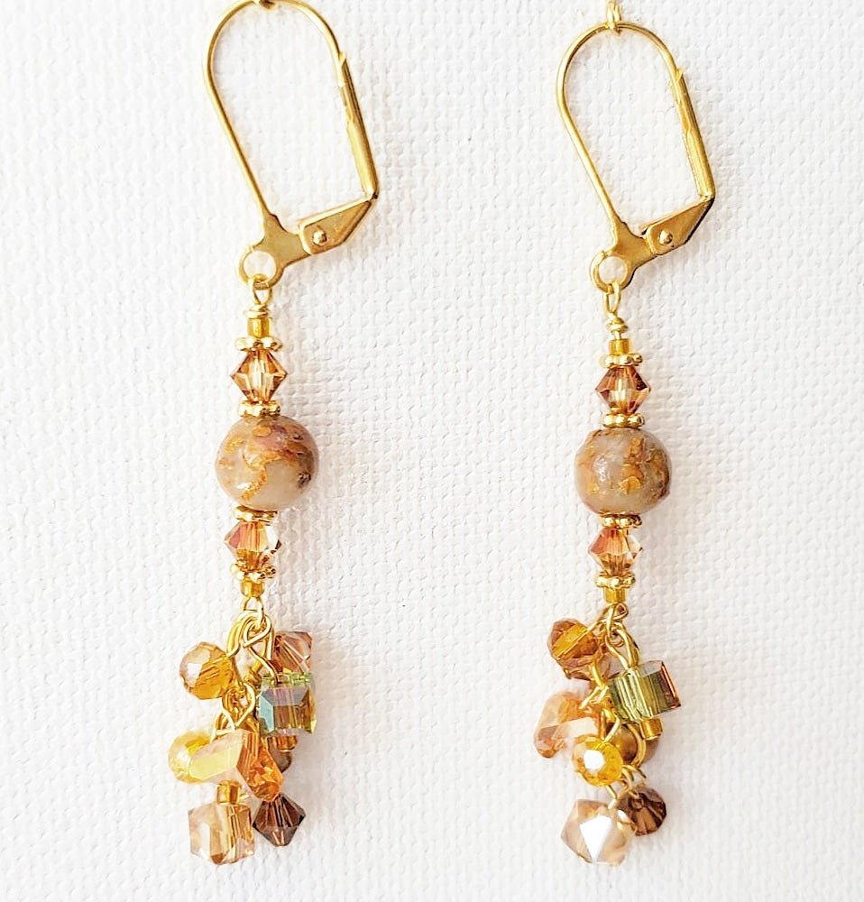 Etienne Tropicana Rose Cluster Earrings