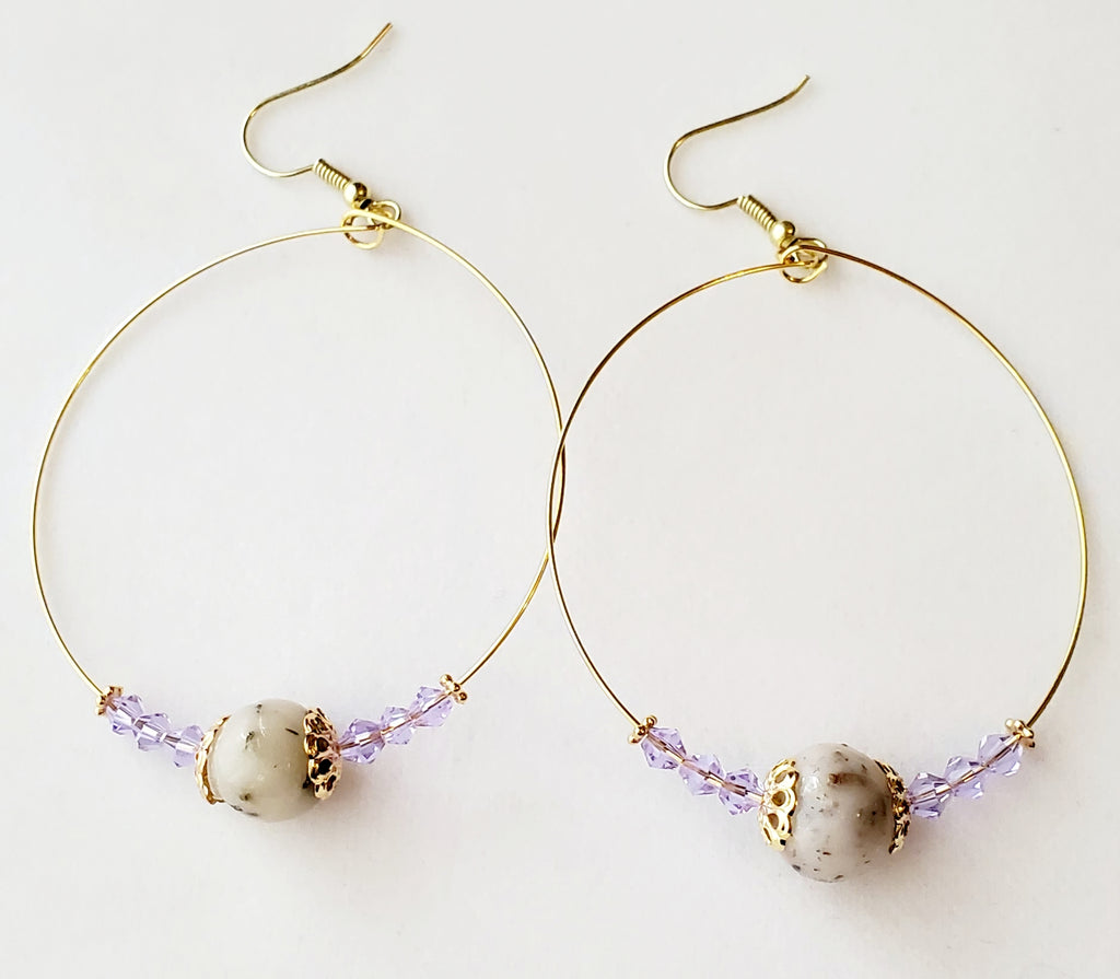 Josephine Lavender Bead Hoop Earrings