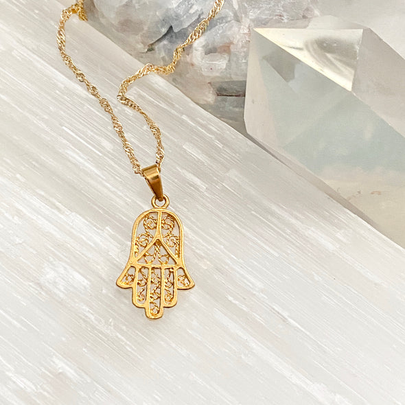 Intricate Hamsa Necklace