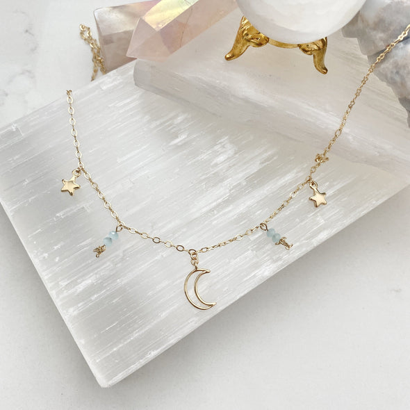 Ellia Dangly Celestial Moon And Star Necklace
