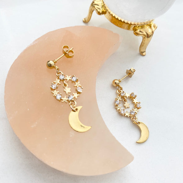 Lorina Sparkly Star And Moon Dangly Earrings