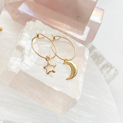 Mini Celestial Mismatched Hoops