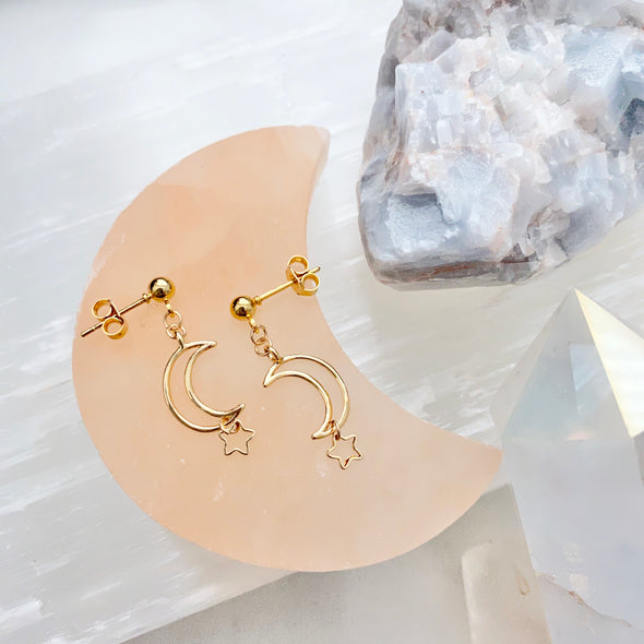 Rachelle Crescent Moon And Star Dangle Earrings