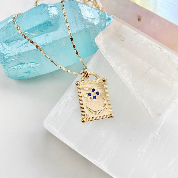 Tablet Moon Pendant Necklace
