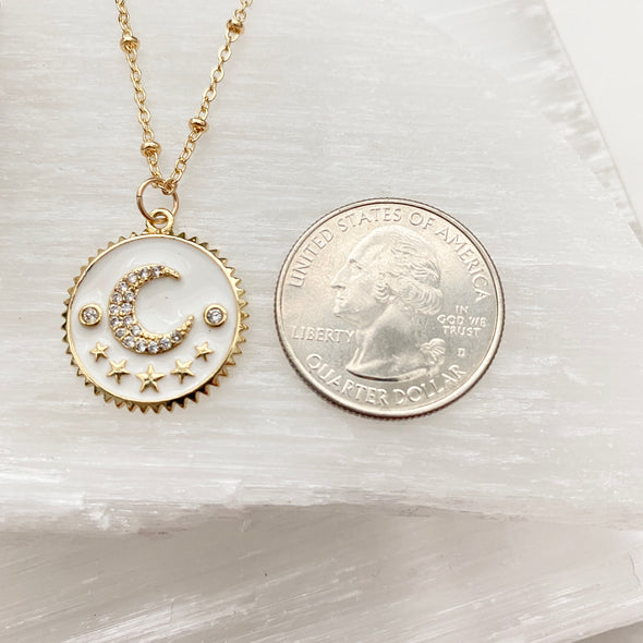 Enamel Moon Constellation Coin Necklace