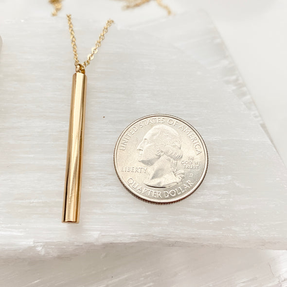 Simple Long Cylinder Bar Necklace