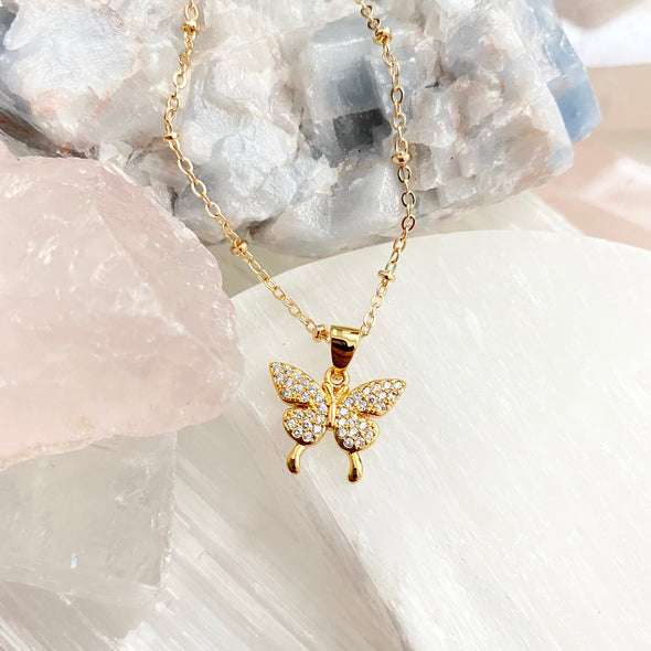 Alicia Cubic Zirconia Butterfly Necklace