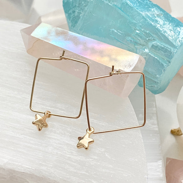 Square Hoops With Star Charms