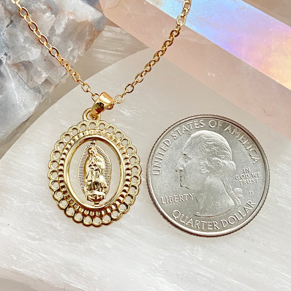 Virgin Mary Scalloped Pendant Necklace