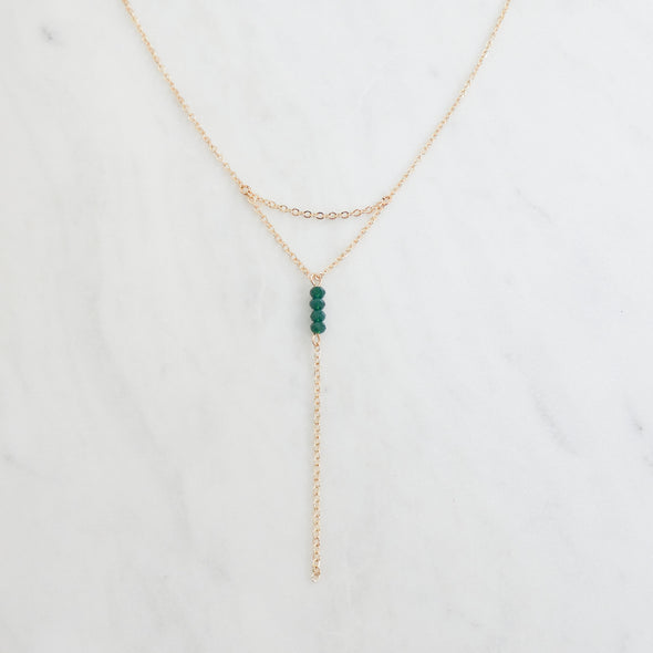 Hunter Beaded Lariat Necklace