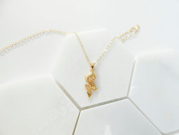 Lucy Cubic Zirconia Dragon Necklace