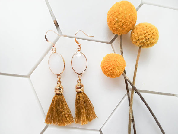Meliah Tassel Gem Earrings