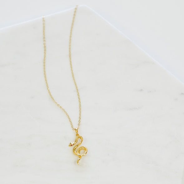 Phoebe Cubic Zirconia Snake Necklace
