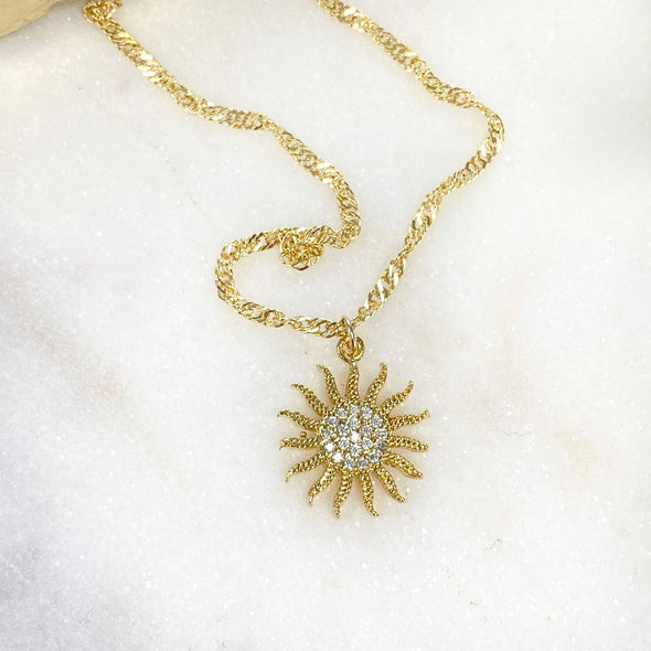 Cubic Zirconia Micro Pave Sun Necklace
